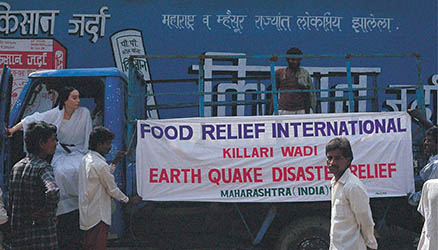Mother Rytasha assisting Earth Quake Disaster Relief in India